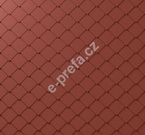 PREFA fasádní šablona malá 20x20, povrch stucco, Tmavě červená P.10