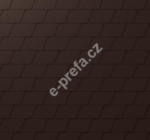 PREFA falcovaná šindel, povrch stucco, Oříšková P.10