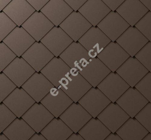 PREFA fasádní šablona 44x44, povrch stucco, Vojenská hnědá - khaki P.10