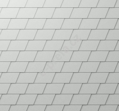 PREFA fasádní šindel, povrch stucco, Přírodní hliník P.10