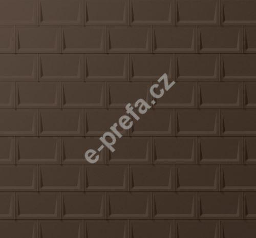 PREFA střešní panel r.16, 700 x 420 mm stucco, Vojenská hnědá - khaki P.10
