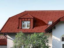 PREFA střešní panel r.16, 700 x 420 mm stucco, Tmavě červená P.10