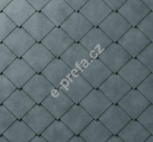 PREFA falcovaná šablona, 44 x 44 mm stucco, Břidlicová P.10