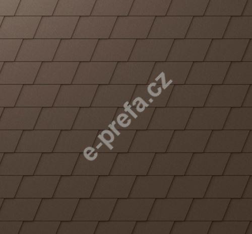 PREFA falcovaný šindel, povrch stucco, Vojenská hnědá - khaki P.10