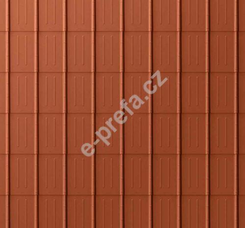 PREFA falcovaná taška, povrch stucco, Cihlově červená P.10