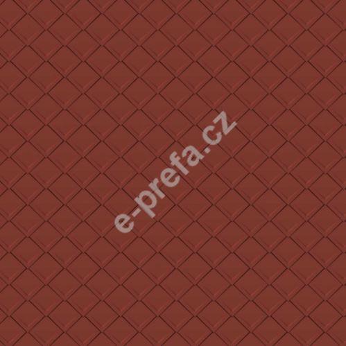 PREFA falcovaná šablona, povrch stucco, Tmavě červená P.10