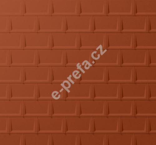 PREFA střešní panel r.16, 700 x 420 mm stucco, Cihlově červená P.10