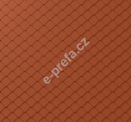 PREFA fasádní šablona malá 20x20, povrch stucco, Cihlově červená P.10