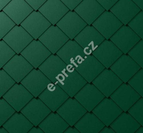 PREFA falcovaná šablona, 44 x 44 mm stucco, Mechově zelená P.10