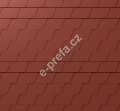 PREFA fasádní šindel, povrch stucco, Tmavě červená P.10