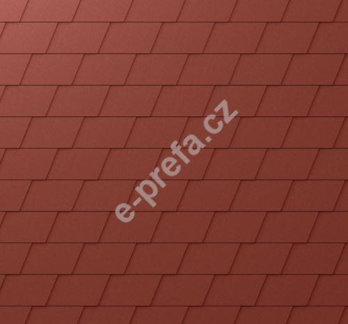 PREFA fasádní šindel - stucco - Tmavě červená P.10