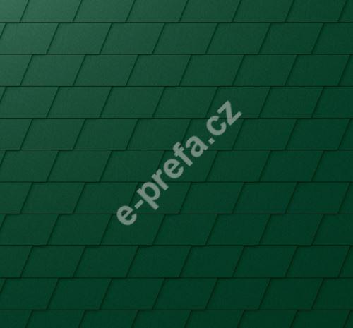 PREFA falcovaná šindel, povrch stucco, Mechově zelená P.10