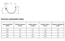 PREFA žlaby, okapy půlkulaté o délce 6m, 250mm