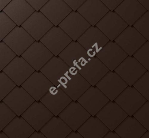 PREFA falcovaná šablona, 44 x 44 mm stucco, Oříšková P.10