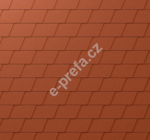 PREFA fasádní šindel, povrch stucco, Cihlově červená P.10
